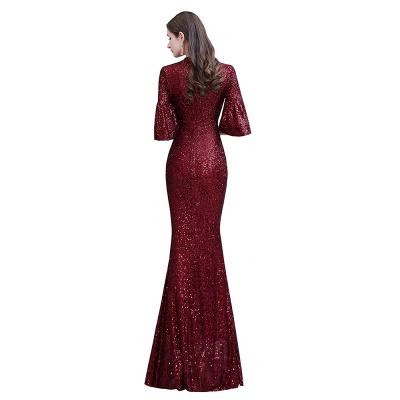 Women's Fashion Jewel Keyhole Half Sleeves Long Sequin Burgundy Prom Dresses_12