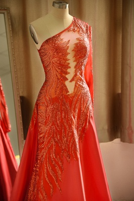 One Shoulder Sheer A-line Red Sexy Prom Dresses | Formal Evening Dresses_6