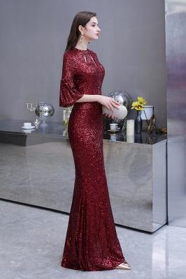 Women's Fashion Jewel Keyhole Half Sleeves Long Sequin Burgundy Prom Dresses_9