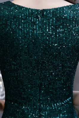 V-neck Cap Sleeves Floor Length Emerald Form-fitting Sequin Prom Dresses_15