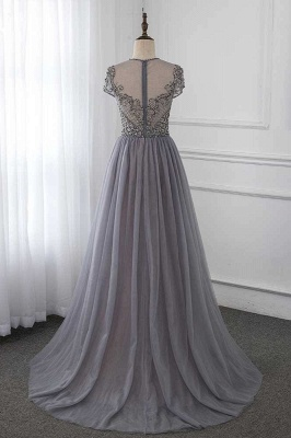 Jewel Cap Sleeves Fitted Prom Dresses with Beads and Detachable Train_2