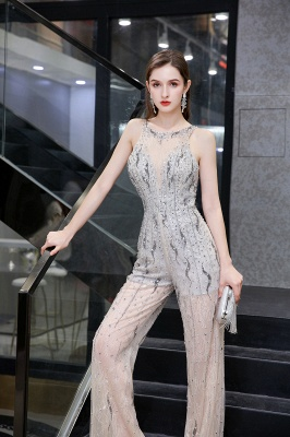 Women's Stylish Round Neck Sleeveless Open Back Beaded Sparkly Prom Jumpsuit_9