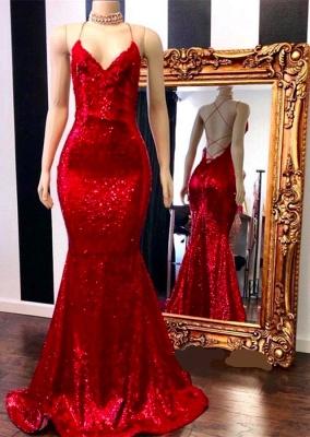 Sexy Spaghetti Straps V-neck Mermaid Sequin Red Prom Dresses_1