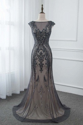 Bateau Cap Sleeves Fitted and Flare Beaded Black Prom Dresses