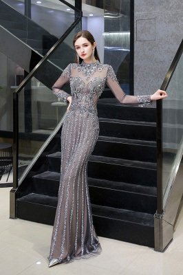 High Neck Long Sleeves Sheer Beaded Sexy Fitted Prom Dresses_4