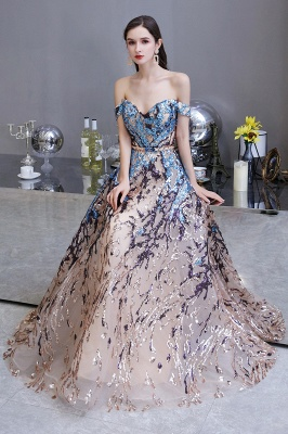 Off the Shoulder Sweetheart Beaded Belted Sparkly A-line Prom Dresses_8