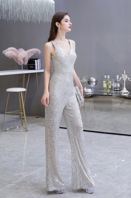 Women's Fashion V-neck Straps Sparkly Sequin Prom Jumpsuit_7