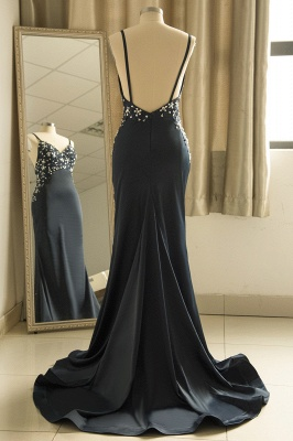 Spaghetti Straps V-neck Sexy Fitted Sleek Prom Dresses_3