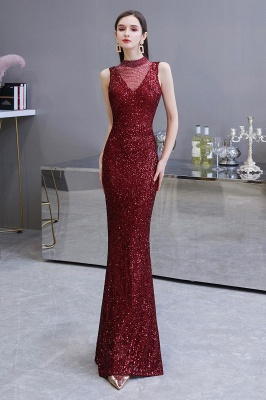 Women's Fashion High Neck Sleeveless Long Sparkly Sequin Form-fitting Prom Dresses_3