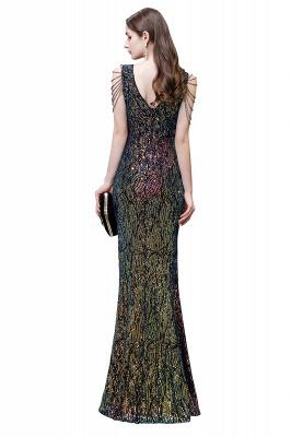 Women's Stylish V-neck Sleeveless Floor Length Thigh Slit Form-fitting Prom Dresses_5