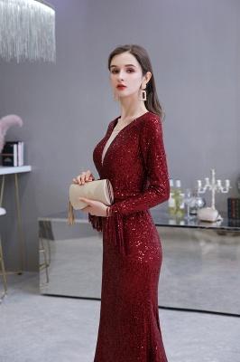 V-neck Long Sleeves Form-fitting Floor Length Burgundy Sequin Prom Dresses_17