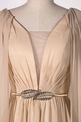 Sleeveless V-neck A-line Champagne Prom Dresses with Watteau Train_4