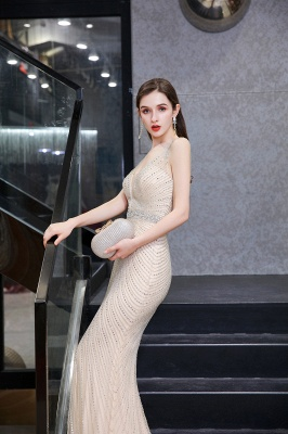 V-neck Cap Sleeves Floor Length Crystal Belt Sheath Prom Dresses_21