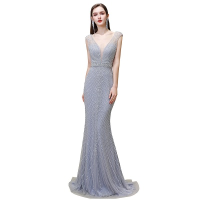 V-neck Cap Sleeves Floor Length Crystal Belt Sheath Prom Dresses_25