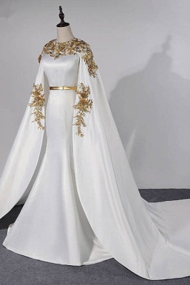 Sleeveless Jewel Belted Gorgeous Prom Dresses with Watteau Train_3