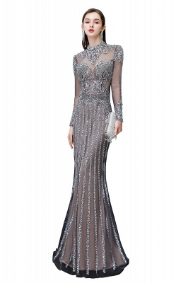 High Neck Long Sleeves Sheer Beaded Sexy Fitted Prom Dresses_1