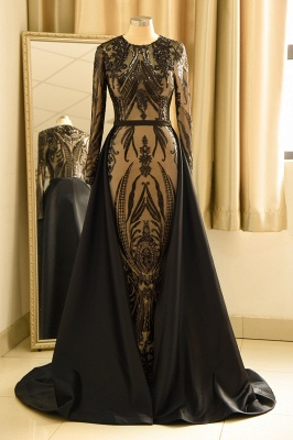 Jewel Long Sleeves Black Prom Dresses with Detachable Overskirt