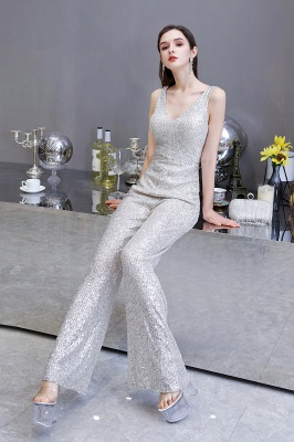 Women's Fashion V-neck Straps Sparkly Sequin Prom Jumpsuit_11