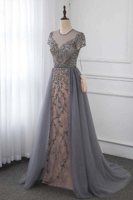 Jewel Cap Sleeves Fitted Prom Dresses with Beads and Detachable Train_3