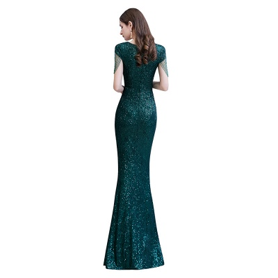 V-neck Cap Sleeves Floor Length Emerald Form-fitting Sequin Prom Dresses_11