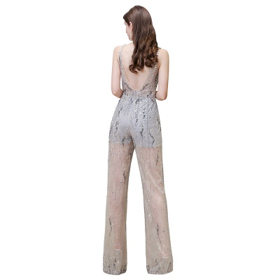 Women's Stylish Round Neck Sleeveless Open Back Beaded Sparkly Prom Jumpsuit_12