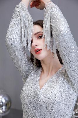 V-neck Long Sleeves Form-fitting Floor Length Burgundy Sequin Prom Dresses_10