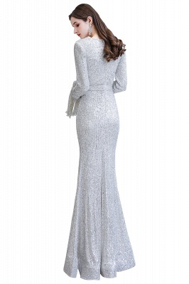 V-neck Long Sleeves Form-fitting Floor Length Burgundy Sequin Prom Dresses_30