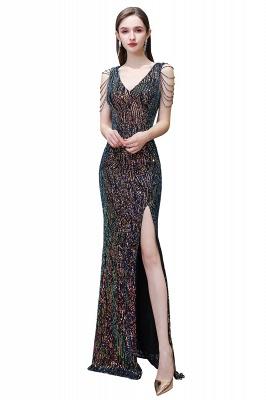Women's Stylish V-neck Sleeveless Floor Length Thigh Slit Form-fitting Prom Dresses_1