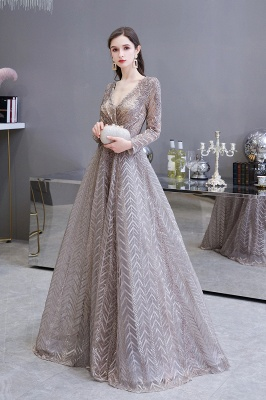 V-neck Long Sleeves Floor Length Lace A-line Gorgeous Prom Dresses_3