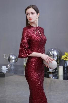 Women's Fashion Jewel Keyhole Half Sleeves Long Sequin Burgundy Prom Dresses_3