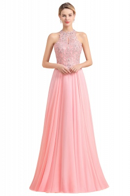 Jewel Sleeveless Lace Chiffon Cheap Long Party Dresses_2