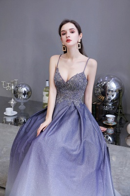 Spaghetti Straps V-neck Beaded Appliques A-line Floor Length Prom Dresses_8