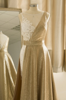 Jewel Sleeveless Lace Sequin Gold Prom Dresses | Design Formal Gown_5