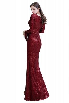 V-neck Long Sleeves Form-fitting Floor Length Burgundy Sequin Prom Dresses_33