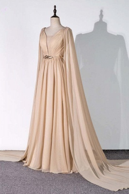 Sleeveless V-neck A-line Champagne Prom Dresses with Watteau Train_3