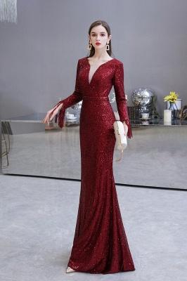 V-neck Long Sleeves Form-fitting Floor Length Burgundy Sequin Prom Dresses_25