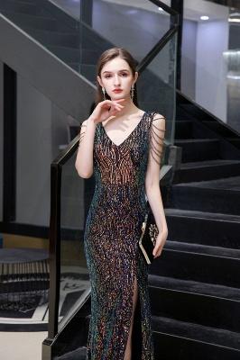 Women's Stylish V-neck Sleeveless Floor Length Thigh Slit Form-fitting Prom Dresses_6