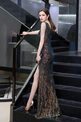 Women's Stylish V-neck Sleeveless Floor Length Thigh Slit Form-fitting Prom Dresses_7