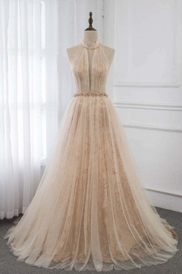 Cute Halter Keywhole Sleeveless Belted A-line Tulle Prom Dresses_6