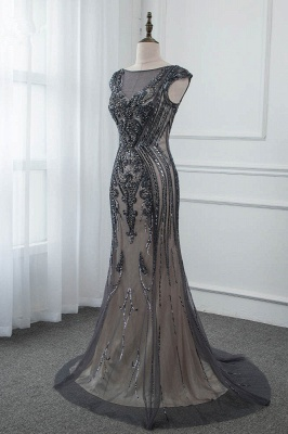 Bateau Cap Sleeves Fitted and Flare Beaded Black Prom Dresses_3