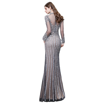 High Neck Long Sleeves Sheer Beaded Sexy Fitted Prom Dresses_16