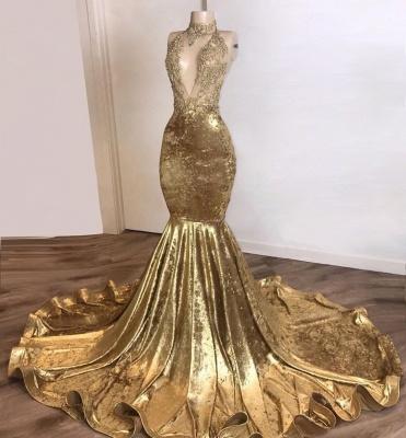 V-neck Spaghetti Straps Appliques Sexy Mermaid Velvet Prom Dresses_2