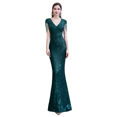 V-neck Cap Sleeves Floor Length Emerald Form-fitting Sequin Prom Dresses_10