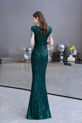V-neck Cap Sleeves Floor Length Emerald Form-fitting Sequin Prom Dresses_7