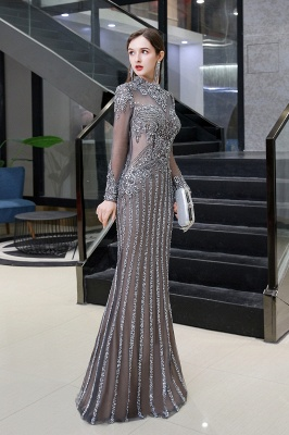 High Neck Long Sleeves Sheer Beaded Sexy Fitted Prom Dresses_3