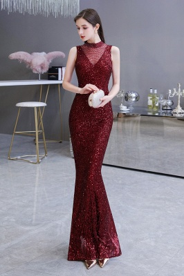Women's Fashion High Neck Sleeveless Long Sparkly Sequin Form-fitting Prom Dresses_6