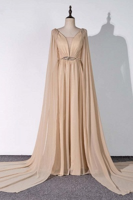 Sleeveless V-neck A-line Champagne Prom Dresses with Watteau Train