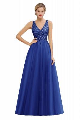 Straps V-neck Sheer Floor Length A-line Tulle Prom Dresses_3