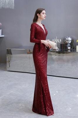 V-neck Long Sleeves Form-fitting Floor Length Burgundy Sequin Prom Dresses_29