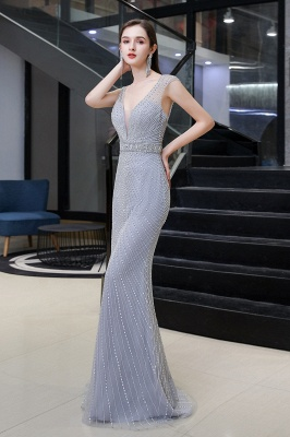 V-neck Cap Sleeves Floor Length Crystal Belt Sheath Prom Dresses_5
